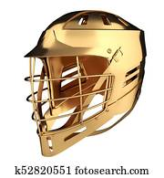 Golden Lacrosse helmet. Back view.
