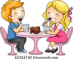 Kids Eating Chocolate Cake