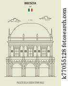 Palazzo della Loggia or Town Hall in Brescia, Italy. Landmark icon