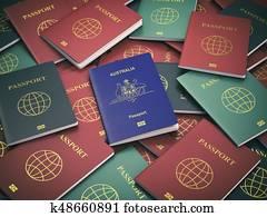 Passport of Australia on the pile of different passports. Immigration concept. Australian passport.