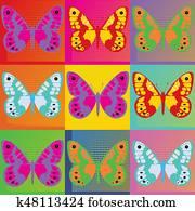 Set of colored butterflies Pop Art Andy Warhol