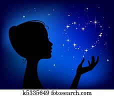 beautiful woman silhouette with star heart