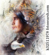 tiger with eagle and indian warrior and headdress illustration. wildlife animals on painting background, Eye contact, White, black and brown color