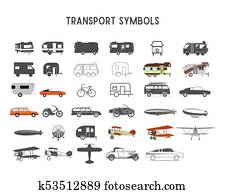 Transport shapes and elements for creation your own outdoor labels, wilderness retro patches, adventure vintage badges, hiking stamps. Rv trailers, planes, biplanes, airships