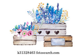 Watercolor flowers wooden box. Hand-drawn vintage illustration.