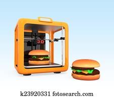 3D printer and hamburger