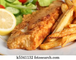 Battered fish with chips and salad