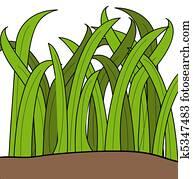 cartoon drawing of blades of green grass