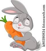 Cartoon rabbit holding a carrot