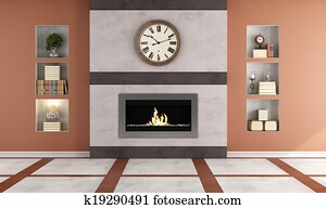 Contemporary gas fireplace in a cl