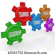 Gears - Leadership Teamwork Synergy Strategy Goals