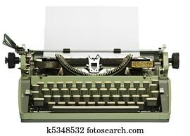 Retro typewriter with blank paper