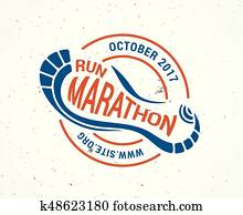Run icon, running symbol, marathon poster and logo
