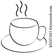 steaming cup of coffee or tea