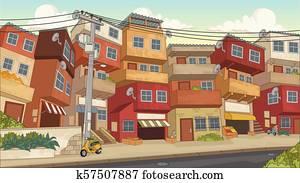 Street of poor neighborhood in the city.