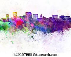 Boise skyline in watercolor background