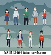 Coronavirus epidemic with people in masks for Covid-19 flat vector illustration.