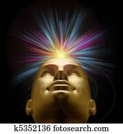 Golden mannequin head with an explosion of pastel light above