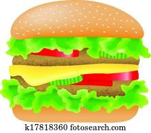 hamburger with meat, lettuce, cucumber, cheese and tomato