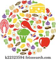 healthy food icons in circle