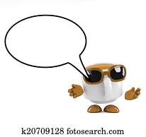 3d Coffee cup speaks