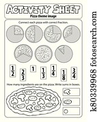 Activity sheet pizza theme 1
