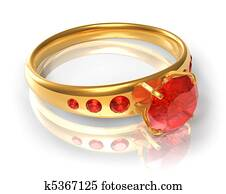 Golden ring with red jewels