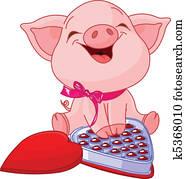 hübsch, schwein, an, valentines tag