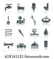 Plumbing tools pictograms set