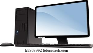 Vector illustration of desktop PC