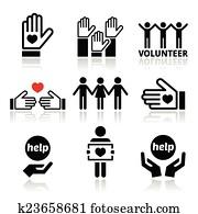 Volunteer, people helping icons