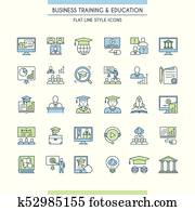 Business training and education icon set