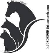horse,, dog,, katz, tier liebhaber, abbildung