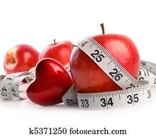rot, apples,, herz, und, messendes klebeband, wei?