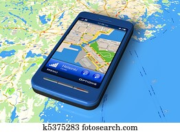 Smartphone with GPS on map