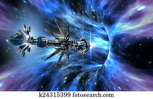 Spaceship entering a wormhole