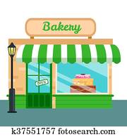 Bakery Shop, stores front icon flat style. Vector illustration