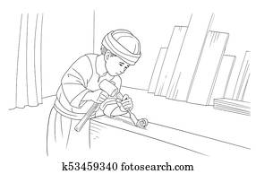 Boy Jesus helps his father in the carpentry workshop