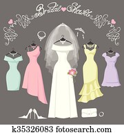 Bridal and bridesmaid dresses. Fashion background
