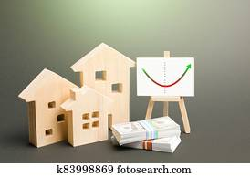 Figures of residential buildings and an easel with real estate market recovery trend chart. Value and cost. Increased interest and demand for housing after price reduction. Investment revitalization