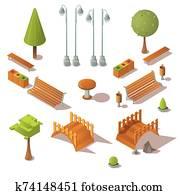 Isometric park set. Benches, trees, wooden bridges