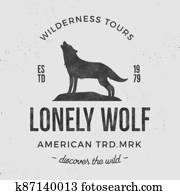 Old wilderness label with wolf and typography elements. Vintage style wolf logo. Prints of howling wolf. Unique design for t-shirts. Hand drawn wolf insignia, rustic design. Letterpress effect