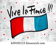 Vive La France Motif Hand Drawn Illustration