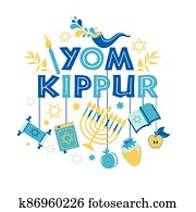Yom Kippur greeting card with candles, apples and shofar and sybols. Jewish holiday background. illustration on white. Translation in Enhlish of atonement day.