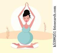 Beautiful pregnant yoga mom