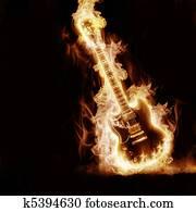 Electronic guitar enveloped flames