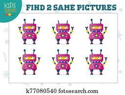 finden, zwei, gleich, bilder, kinderspiel, vektor, illustration.