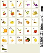 Fruits and vegetables alphabet cards