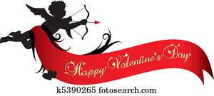 glücklich, valentines tag, spruchbaender