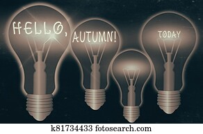 Word writing text Hello, Autumn. Business concept for greeting used when embracing the change from summer to winter.
